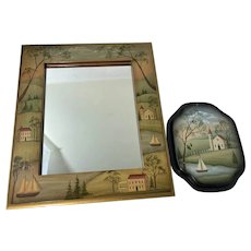 Wonderful Artist Wall Mirror Folk Art Painted W/ Small Painted Tray Jean Galloway Signed
