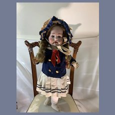 Antique Bisque Doll Sweet German Petite Doll in Sailor Outfit Wobbly Tongue Koenig & Wernicke Konig &Wernicke Toddler Body Fully Jointed