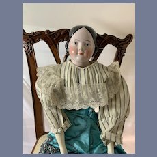 Antique Doll Pink Tint China Head Covered Wagon Beautiful