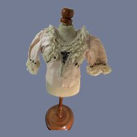 Old Doll Blouse French Market Fashion Doll Lace Beads Fancy
