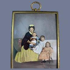 Sweet Old Miniature Glass Frame Portrait Dollhouse Dementi Studio Doll