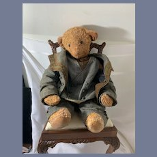 Antique Teddy Bear Jointed Button Eyes Dressed in Antique Suit Large