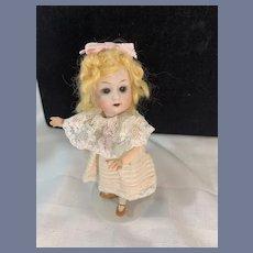 Antique Doll Miniature Bisque Gebruder Heubach Petite Dollhouse Doll Fancy Dresss FAB condition