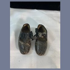 Antique Leather Shoes for Doll Fancy W/ Button Closure Bows and Beads