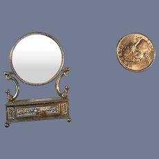 "Wonderful Miniature Artist Made Sterling Vanity Mirror w/ Drawer and Swivel Mirror 2"""