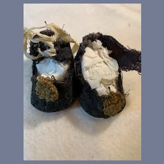 """Antique Cloth Doll Shoes size 5 with Leather Soles  2 1/8"""""""