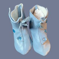 """Vintage Artist Doll Shoes Blue Tall Boots French Style Side Button with Tassels 2.5"""""""