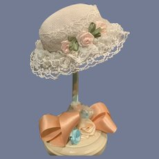 Vintage Doll Bonnet Hat Tagged Janet Custom Milliner