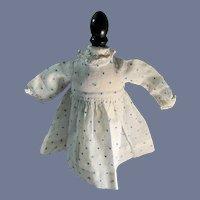 Old Cotton  Polka Dot Dress Lace Trim Petite Doll