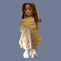 "Antique Doll ABG Bisque Head  Sweet 21 1/2"" Tall Glass Eyes"