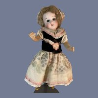 Antique Doll Petite  Miniature Bisque Head Fancy Clothes Glass Eyes Black Stockings