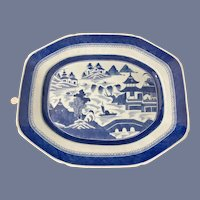 """Very Large Canton Chinese Export Porcelain Platter Blue and White 18 1/4"""""""