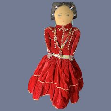 Old Cloth Indian DOll W/ Original Beaded Clothes Drawn on Features Unusual