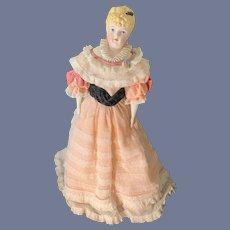 "Vintage Emma Clear Elizabeth Blonde Bisque Parian Doll 20 1/2"" Tall Dressed Molded Collar 1941"