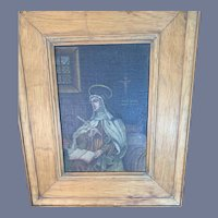 Antique Religious Painting on Wood Framed Signed Wonderful