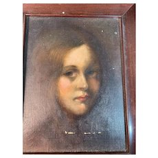 Old Oil Painting of Young Lady Framed Charming