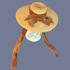 WONDERFUL Vintage Straw Doll Bonnet Hat W/ Velvet Sash