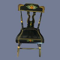 """Sweet Jacob Ebersol JS Ebersol PA Wood Tole Painted Doll Chair Great Display 24"""""""