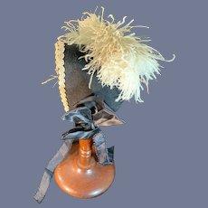 Vintage Doll Black Bonnet Fancy Trim Feathers French Market