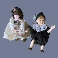 Two Vintage Miniature Artist Dolls Dressed Dollhouse
