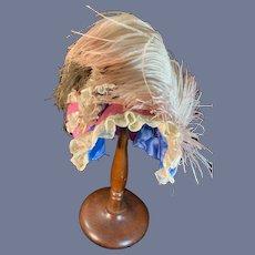 Vintage Fancy Doll Bonnet Hat W/ Flowers Feathers Lace French Market