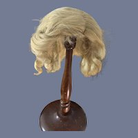 Old Doll Mohair Wig Blonde Long Curls