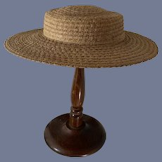 """Wonderful Old Straw Bonnet Hat For Doll Ivey's Department Store The Knox White Briar 17"""" Circ"""