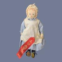 Award Winning Antique Cloth Moravian Doll Polly Heckewelder All Original