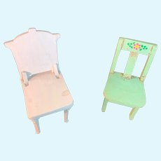 Old Doll Wood Miniature Chair Set Wood Tole Painted Dollhouse