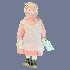 Vintage Cloth Doll Polly Heckwelder  MORAVIAN Doll Dressed Wonderful Condition