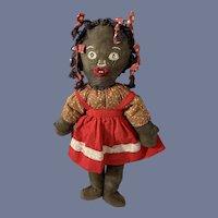 Wonderful Old Black Cloth Doll W/ Sewn Features