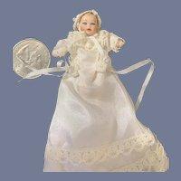 Vintage Wonderful Artist Miniature Doll Ornate Christening Gown Baby Dollhouse