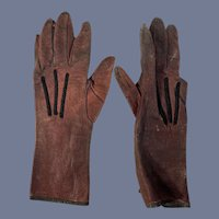Antique Leather Child Doll Gloves Sweet