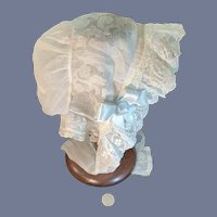Wonderful Antique Fancy Doll Bonnet For Larger Doll Embroidery & Lace