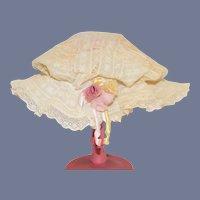 Wonderful Doll Lace Bonnet Flowers Ribbons Fancy French Market