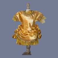 """Fancy Bright Yellow Doll Dress with Satin Overlay Top 13"""""""