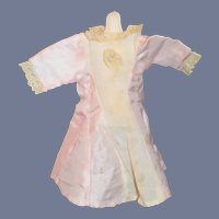 """Miniature Silk Pink and White Cloth Doll Dress 7.5"""""""