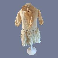 Sweet Vintage Doll Dress Drop Waist Lace Velvet