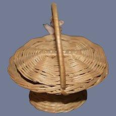 Sweet Vintage Basket W/ Lid Miniature Woven Straw Basket