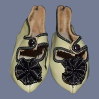 Vintage Doll Shoes Artist Made Leather Fancy Flowers