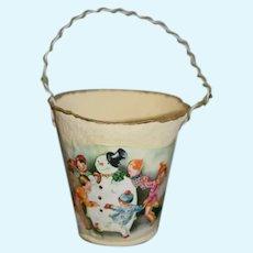 "Vintage Papier Paper Mache Snowman Doll Christmas Holiday Bucket 4"""