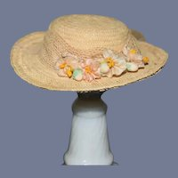 Miniature Beige Straw Doll Hat with Flower Decoration Petite Doll