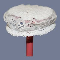 """Small White Knit Doll Hat with Lace Details  10.5"""" circumference"""