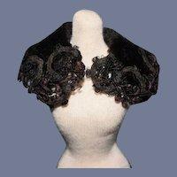 """Antique Miniature Fancy Black Doll Shawl Fashion 4"""""""