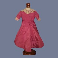 "Vintage Plain Pink Doll Dress with Lace Details 12"""