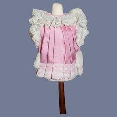 """Vintage Miniature Pleated Pink Doll Dress 3.75"""""""