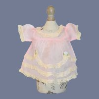 Sweet Vintage Doll Dress Pink W/ Lace Trim