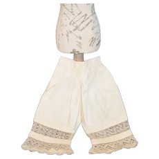 Antique Doll Undergarments Bloomers Lace Draw String Wonderful