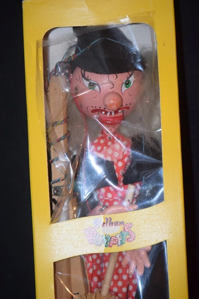 Vintage Doll Marionette Puppet Witch Pelham In Original