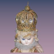 Antique Doll Early Papier Mache & Wood Religious Icon  Figure W/ Crown